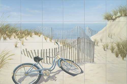Sally lee by the sea nautical coastal tropical for Beach mural ideas